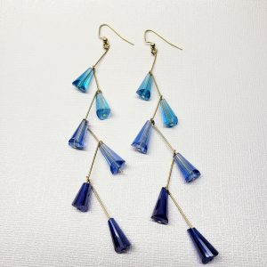 blue ombre drop earrings